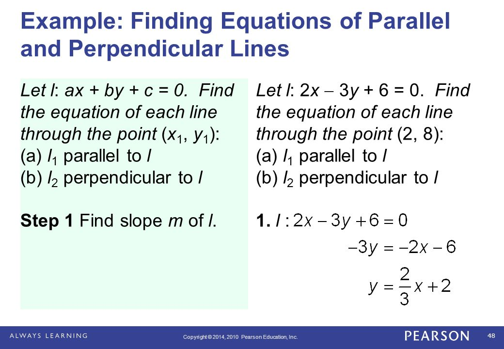 how to write an equation for a parallel line