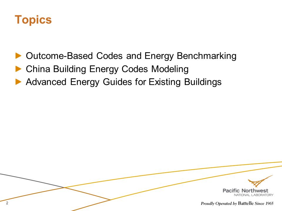 Topics Outcome-Based Codes and Energy Benchmarking