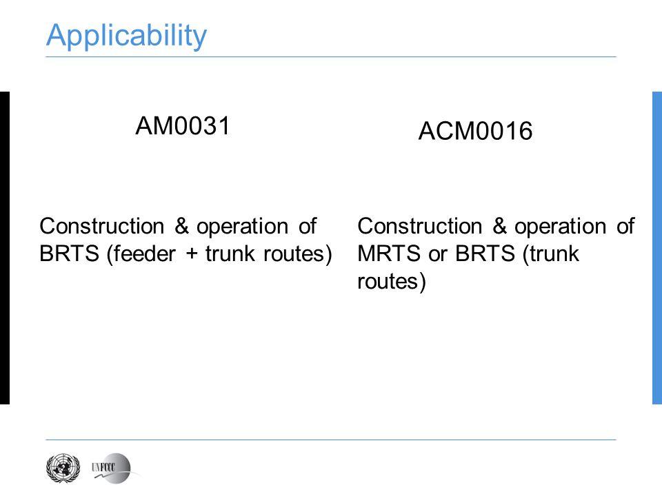 Applicability AM0031. ACM0016.