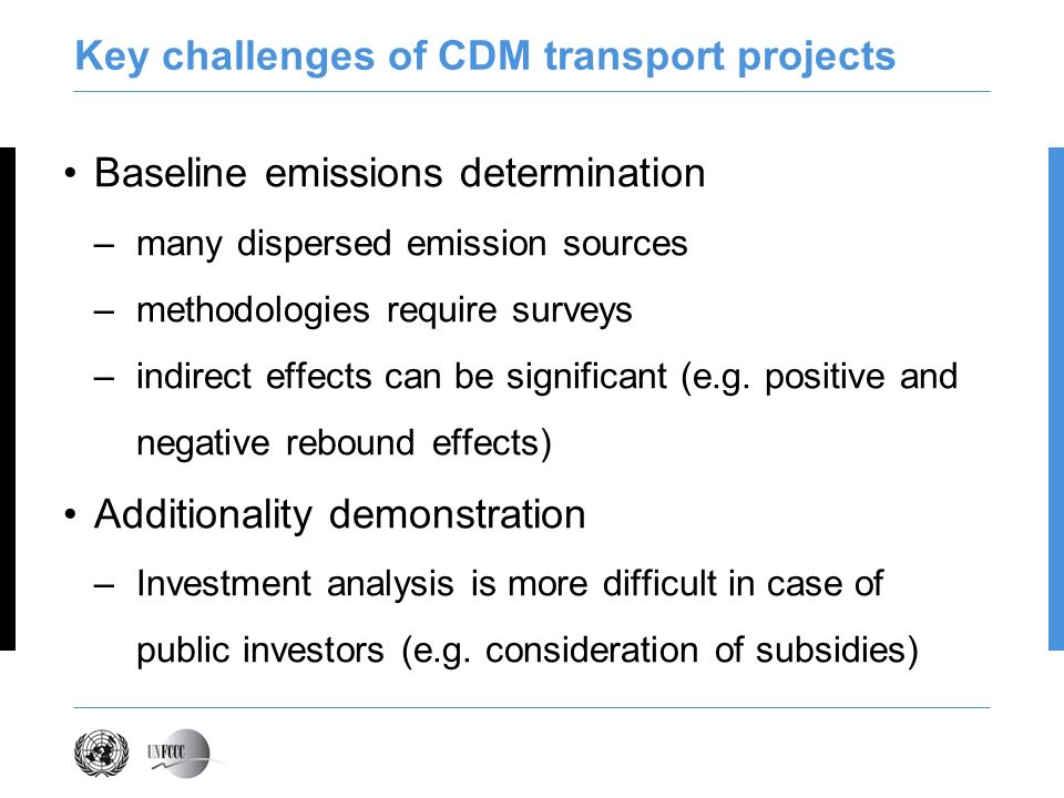 Key challenges of CDM transport projects