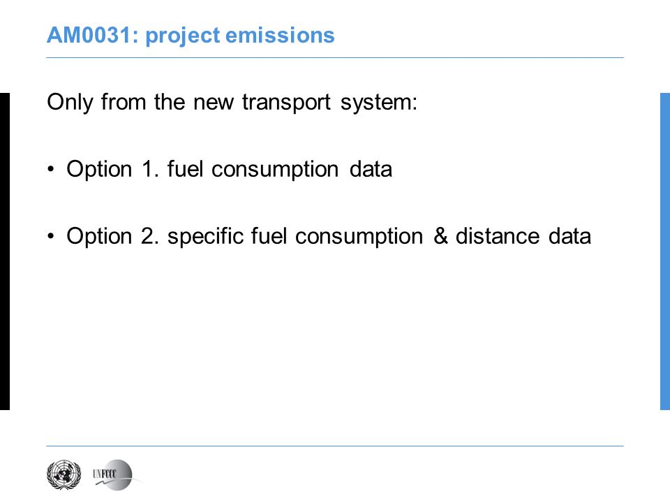 Only from the new transport system: Option 1. fuel consumption data
