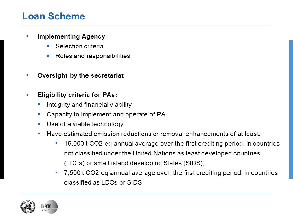 Loan Scheme Implementing Agency Selection criteria