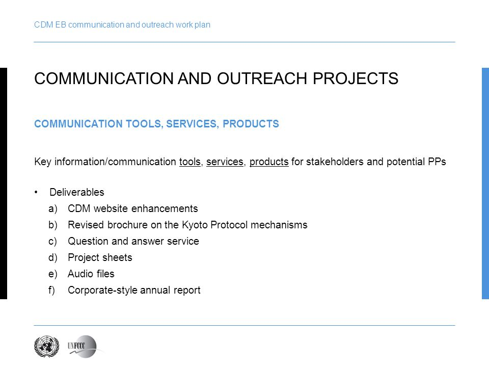 CDM EB communication and outreach work plan