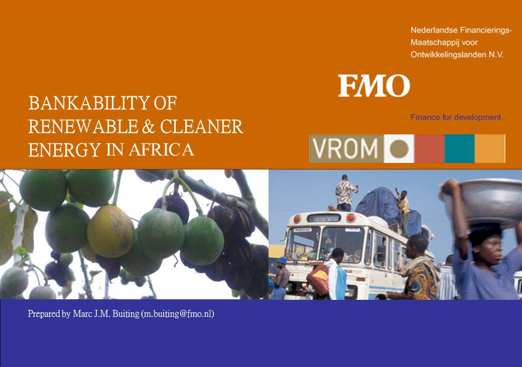 BANKABILITY OF RENEWABLE & CLEANER ENERGY IN AFRICA