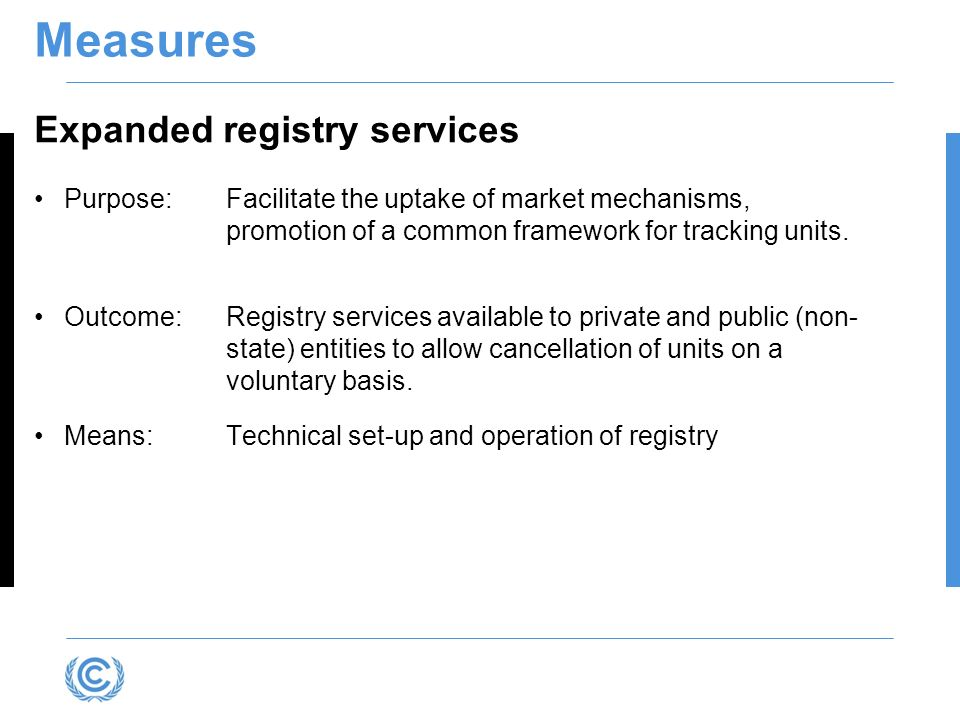 Measures Expanded registry services