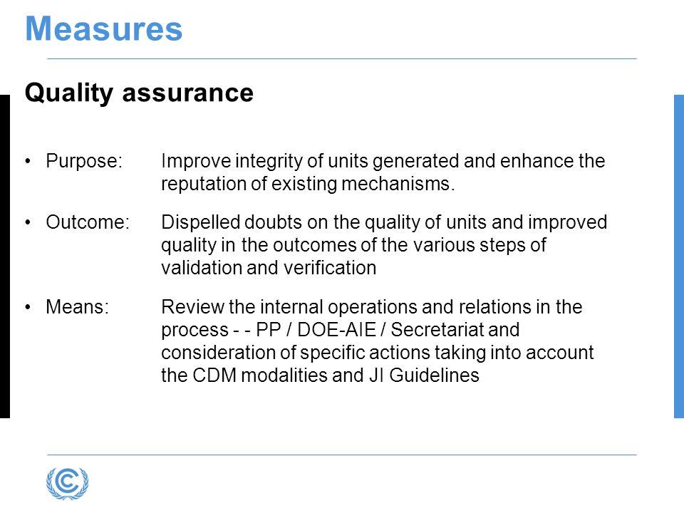 Measures Quality assurance