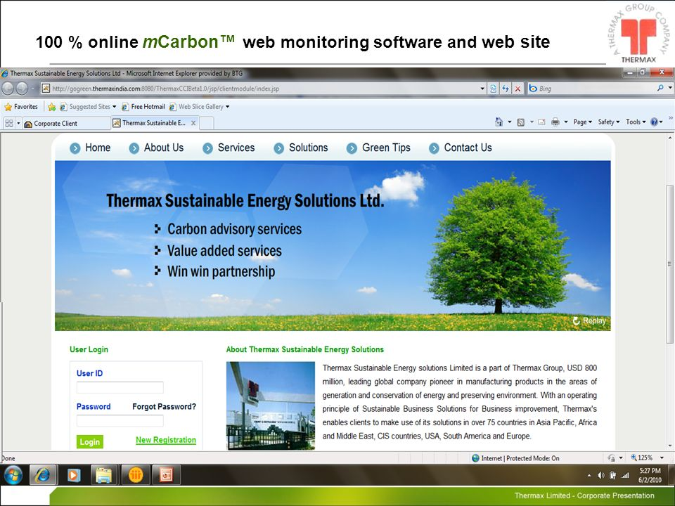100 % online mCarbon™ web monitoring software and web site