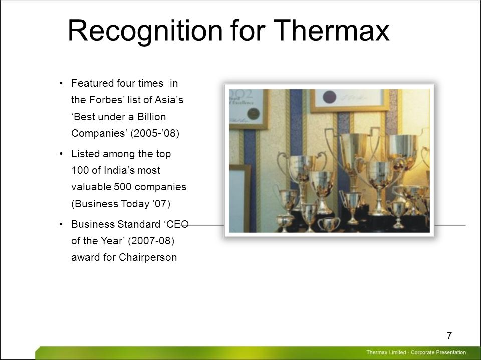Recognition for Thermax