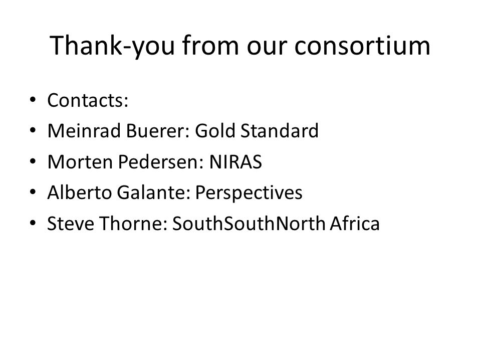 Thank-you from our consortium