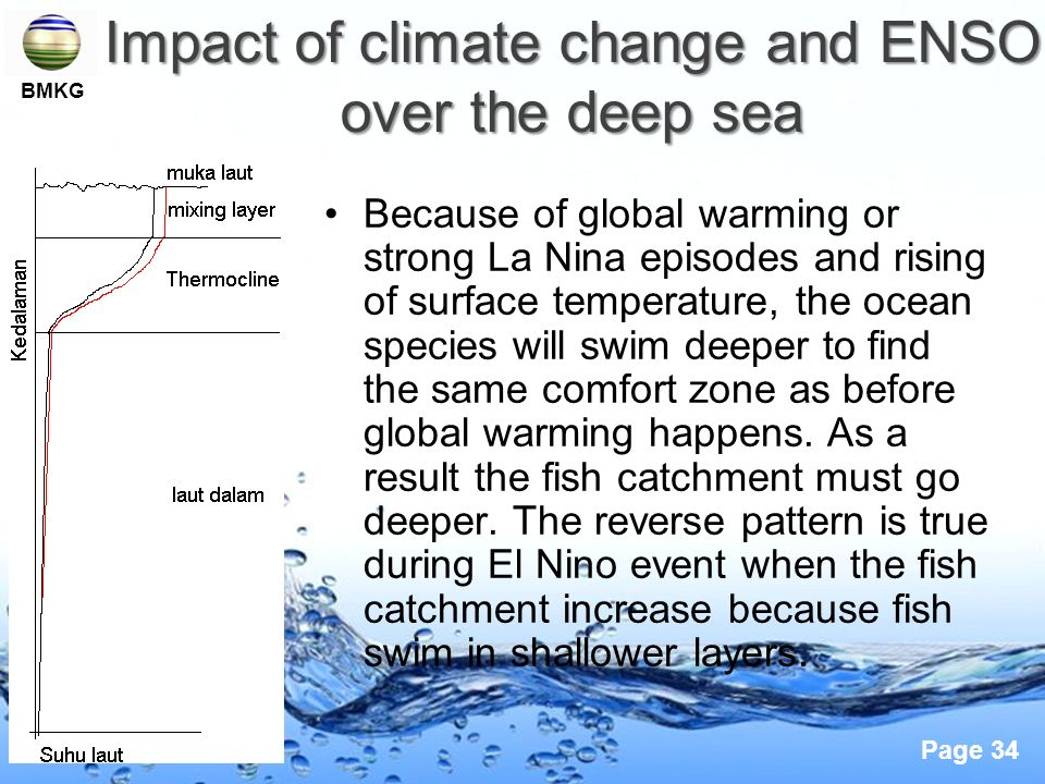 Impact of climate change and ENSO over the deep sea
