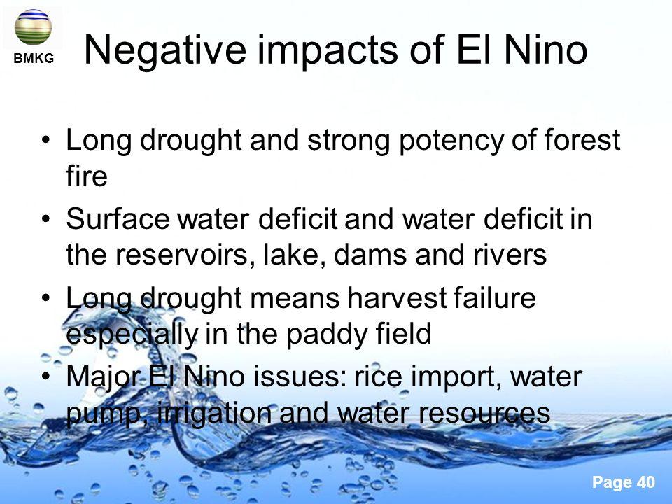 Negative impacts of El Nino