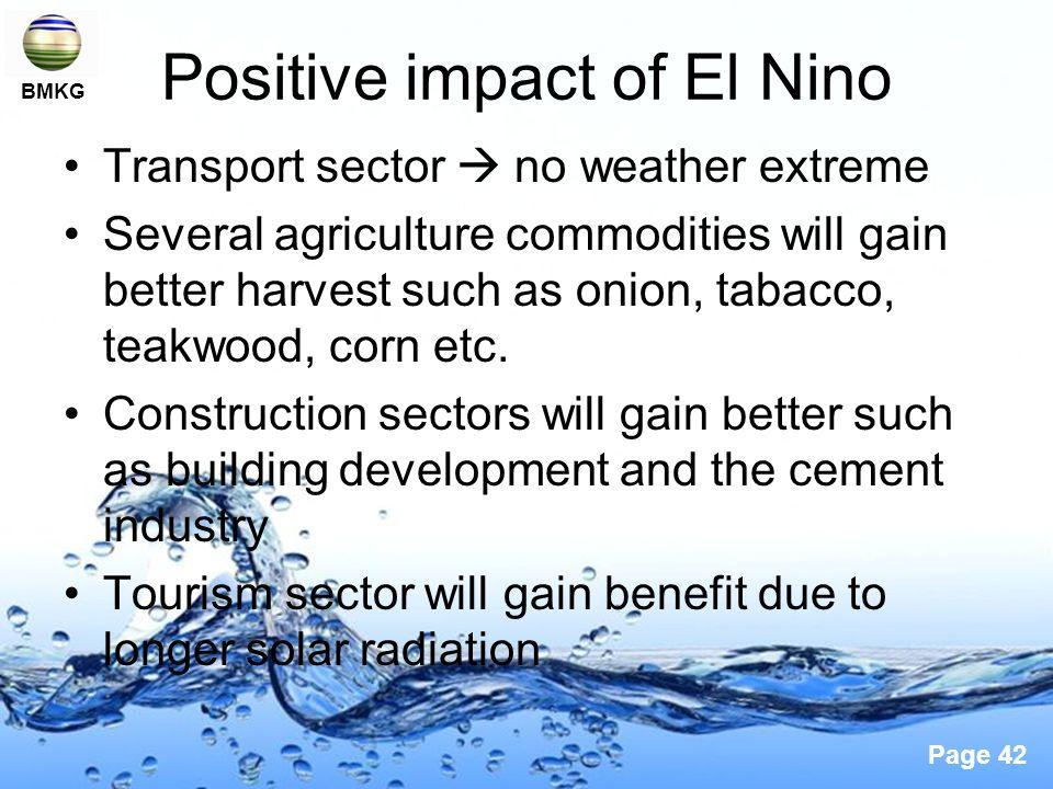 Positive impact of El Nino