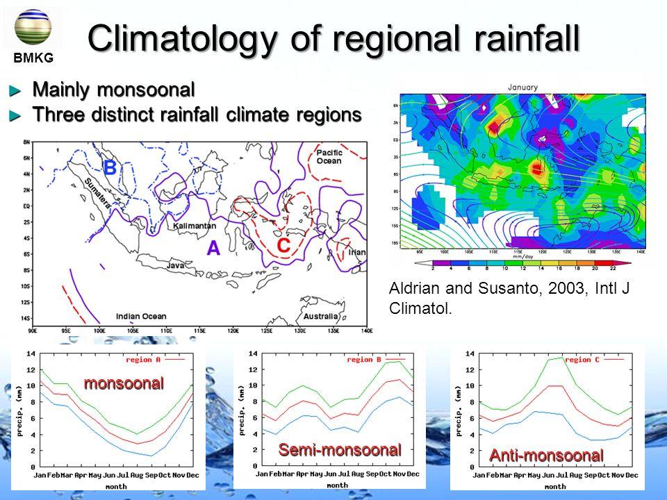 Climatology of regional rainfall