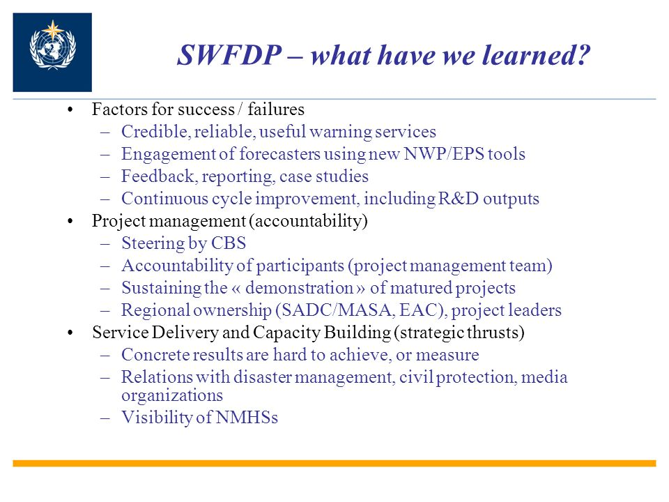 SWFDP – what have we learned