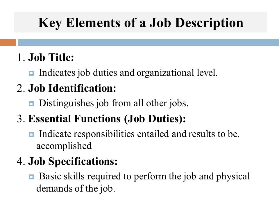 Key Elements of a Job Description