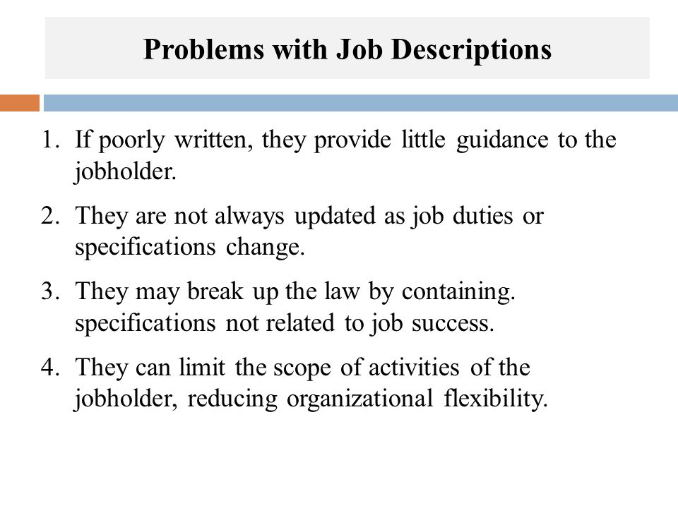 Problems with Job Descriptions