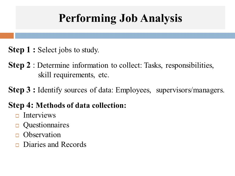 Performing Job Analysis