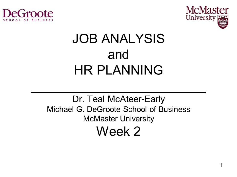 JOB ANALYSIS and HR PLANNING ________________________ Dr