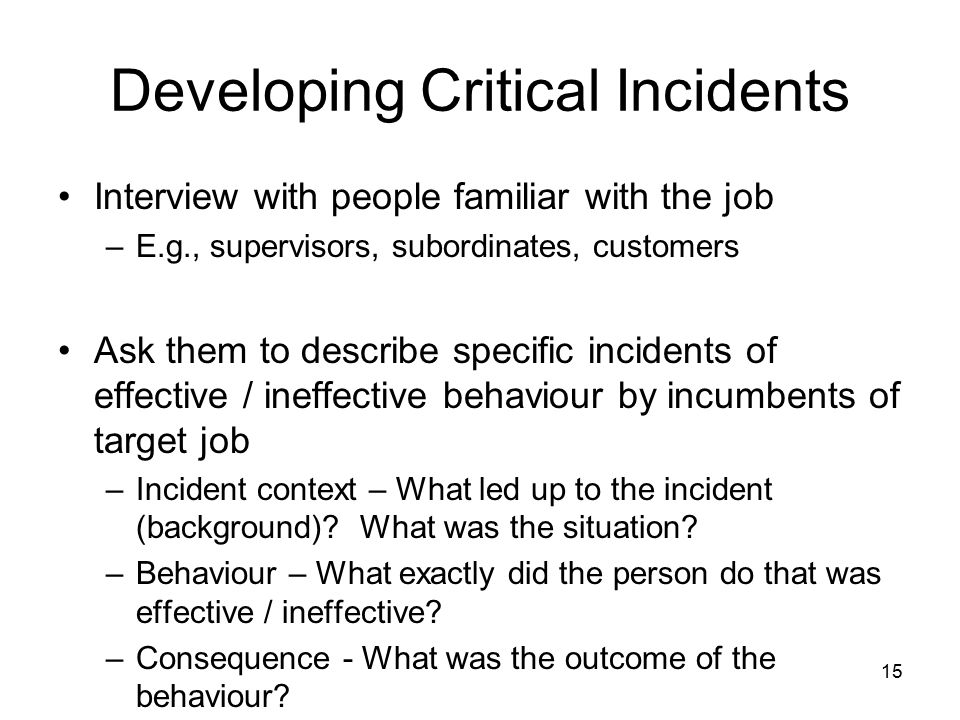 Developing Critical Incidents
