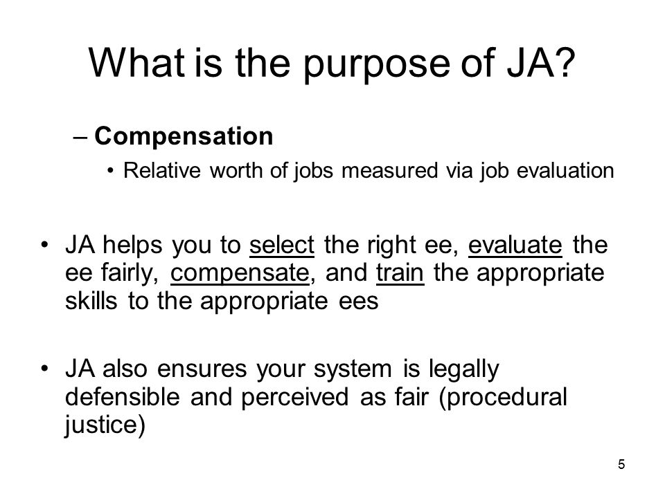 What is the purpose of JA