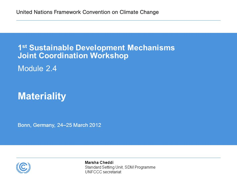 Presentation title 1st Sustainable Development Mechanisms Joint Coordination Workshop. Module 2.4.