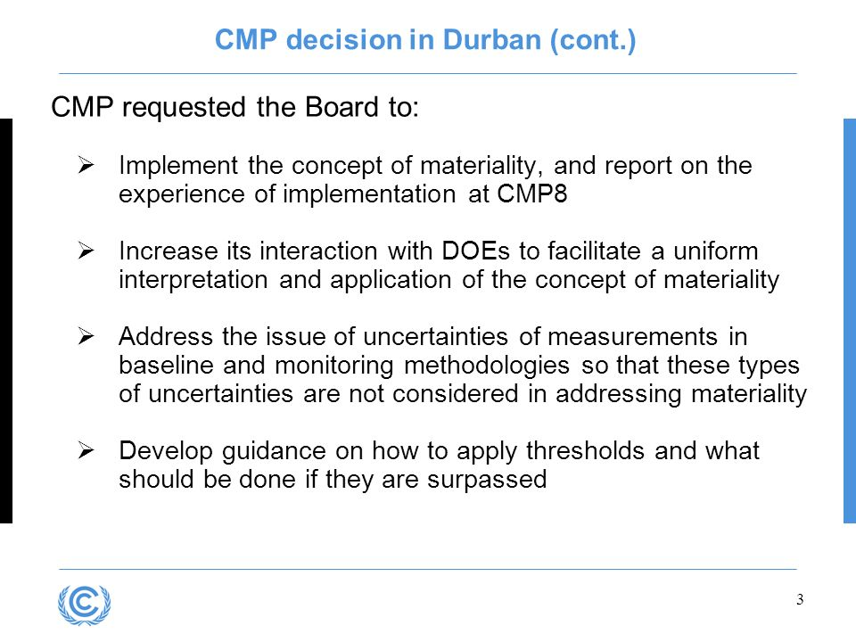 CMP decision in Durban (cont.)