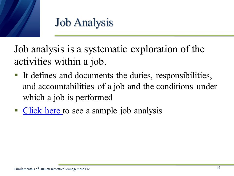 Chapter 5 Human Resource Planning and Job Analysis ppt video – Sample Job Analysis