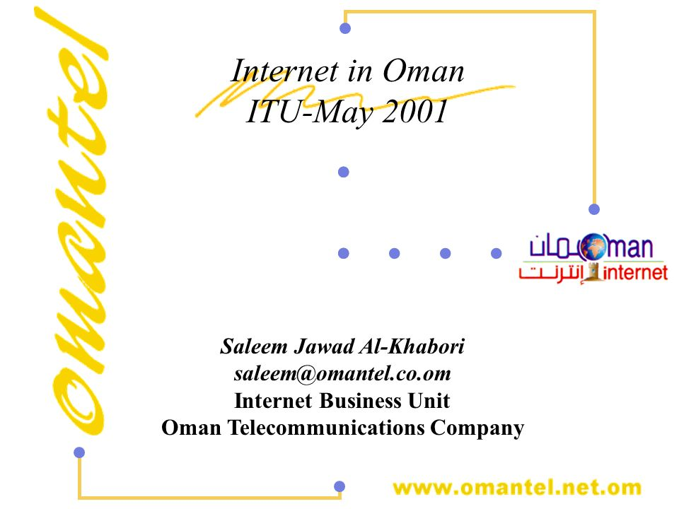 .. .. . . . Internet in Oman ITU-May 2001 Saleem Jawad Al-Khabori