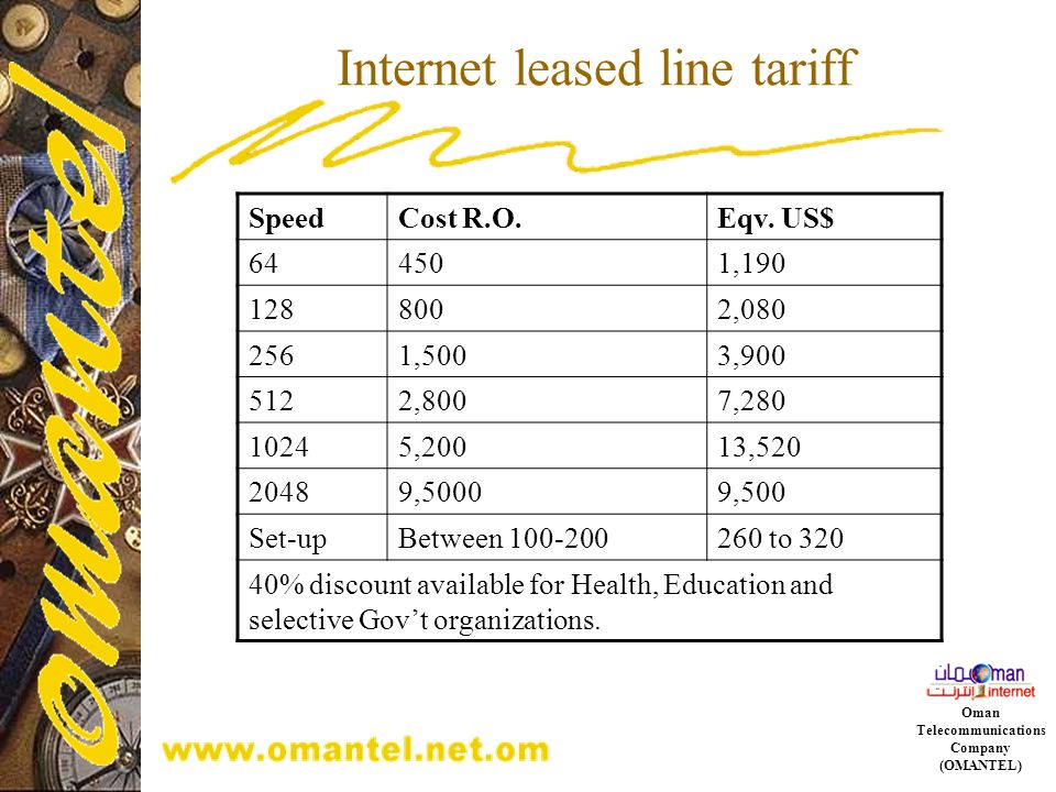 Internet leased line tariff