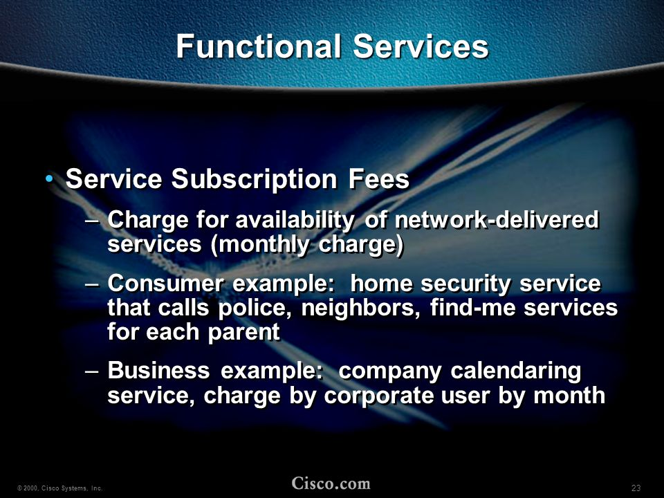 Functional Services Service Subscription Fees