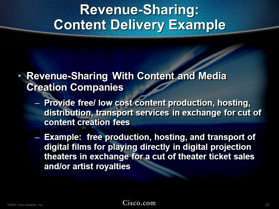 Revenue-Sharing: Content Delivery Example