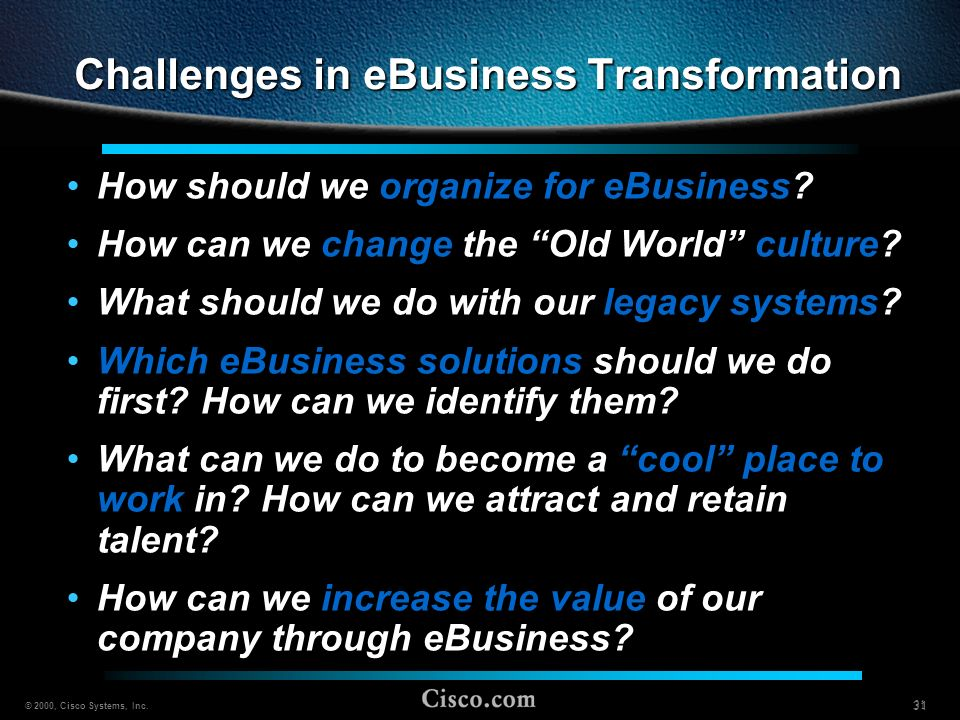 Challenges in eBusiness Transformation