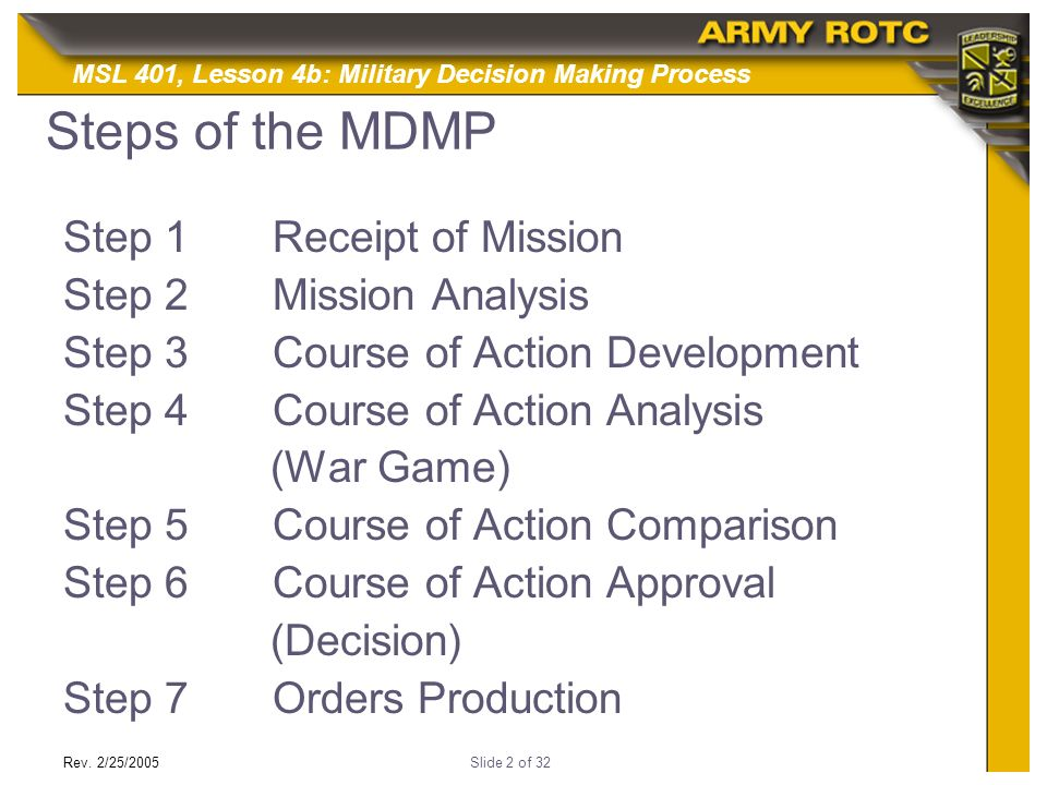 mission analysis Receipt of mission mission analysis course of action development course of action analysis course of action comparison course of action approval orders production intent statement commander's intent statement should state the following: key tasks end state 13 elements of commander's guidance specify coas, friendly & enemy, and the priority.