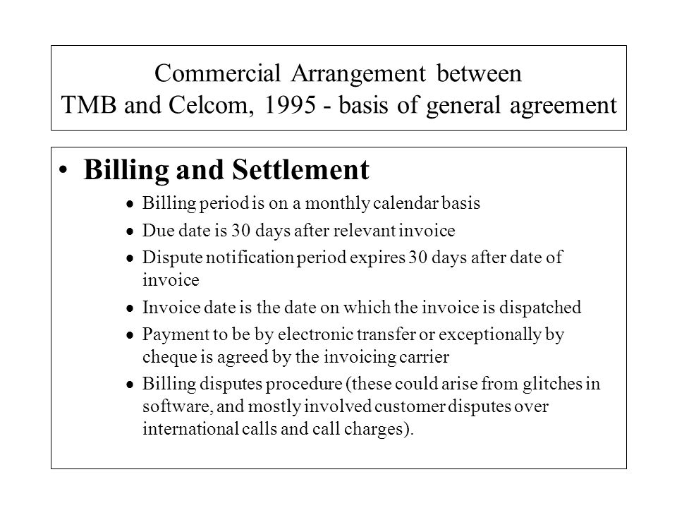 Billing and Settlement