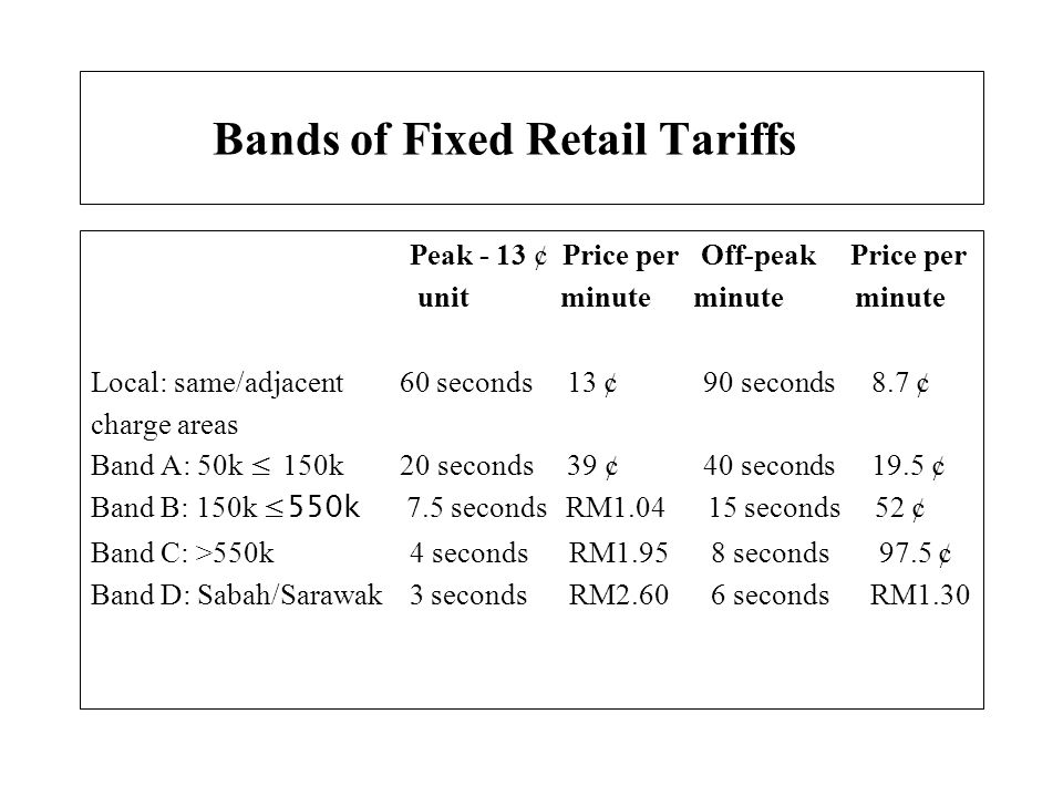 Bands of Fixed Retail Tariffs