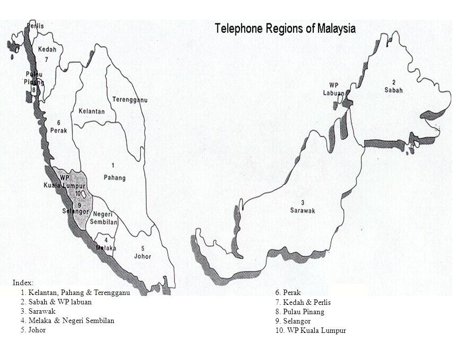 Index: 1. Kelantan, Pahang & Terengganu. 2. Sabah & WP labuan. 3. Sarawak. 4. Melaka & Negeri Sembilan.