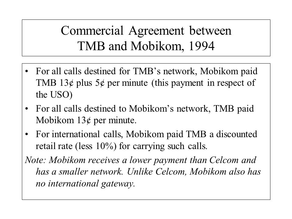Commercial Agreement between TMB and Mobikom, 1994