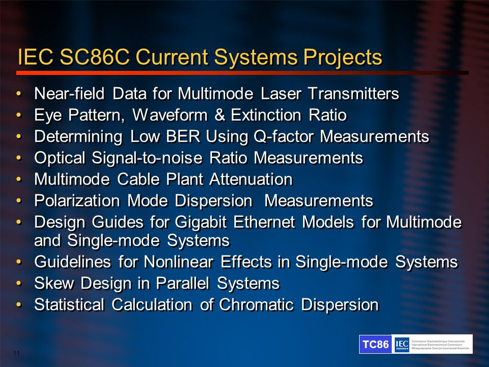 IEC SC86C Current Systems Projects