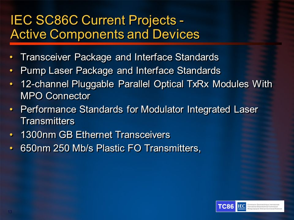 IEC SC86C Current Projects - Active Components and Devices
