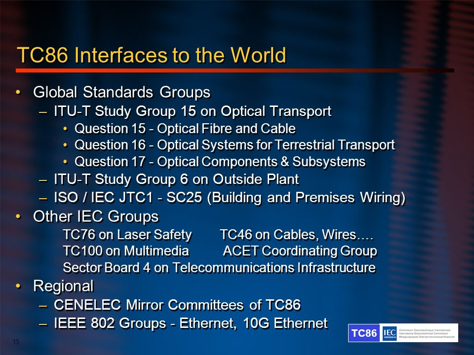 TC86 Interfaces to the World
