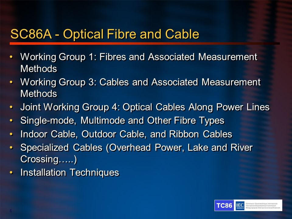 SC86A - Optical Fibre and Cable