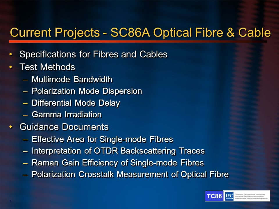 Current Projects - SC86A Optical Fibre & Cable