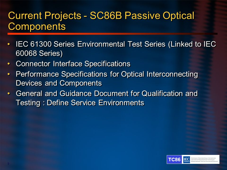 Current Projects - SC86B Passive Optical Components