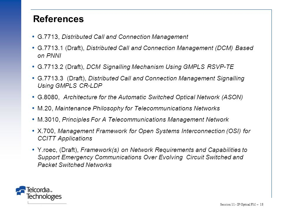 References G.7713, Distributed Call and Connection Management