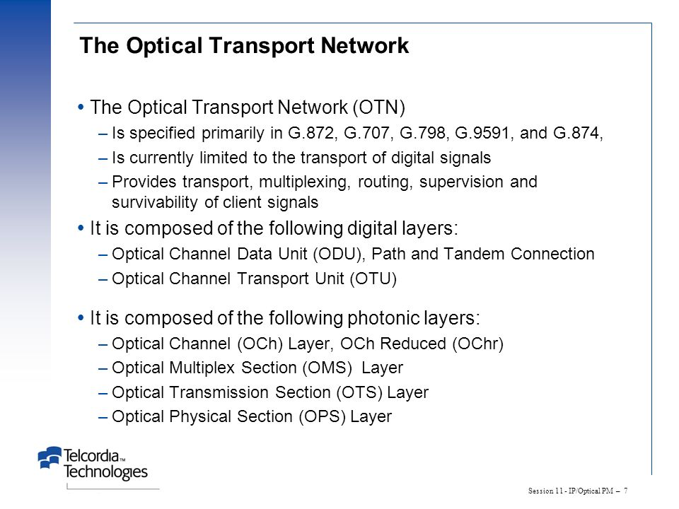 The Optical Transport Network