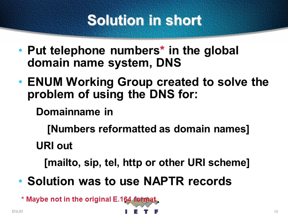 Solution in short Put telephone numbers* in the global domain name system, DNS.