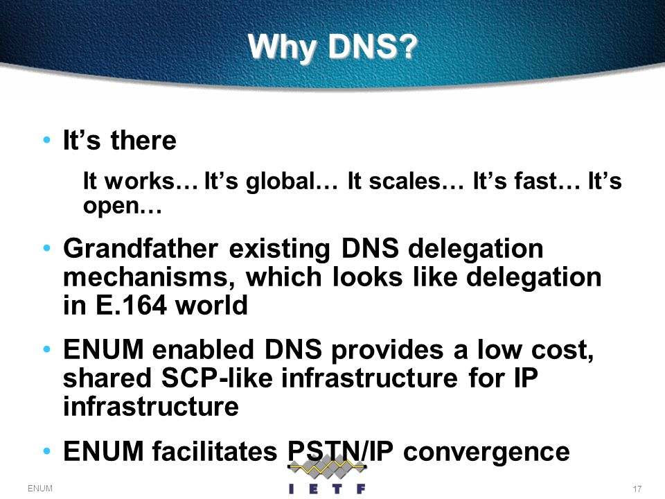 Why DNS It's there. It works… It's global… It scales… It's fast… It's open…