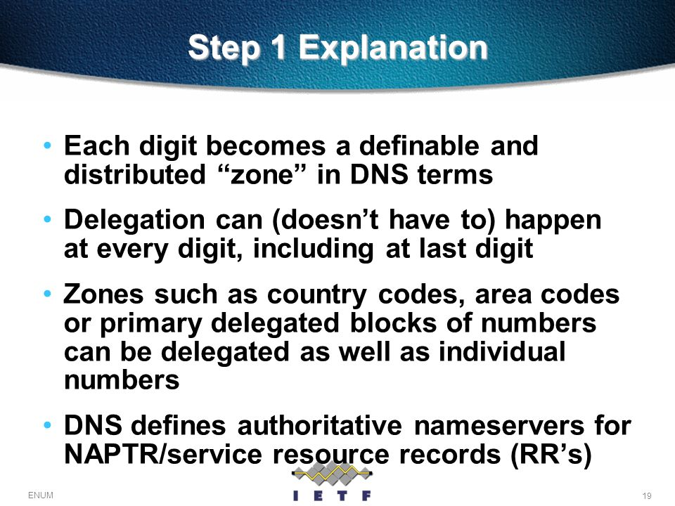 Step 1 Explanation Each digit becomes a definable and distributed zone in DNS terms.