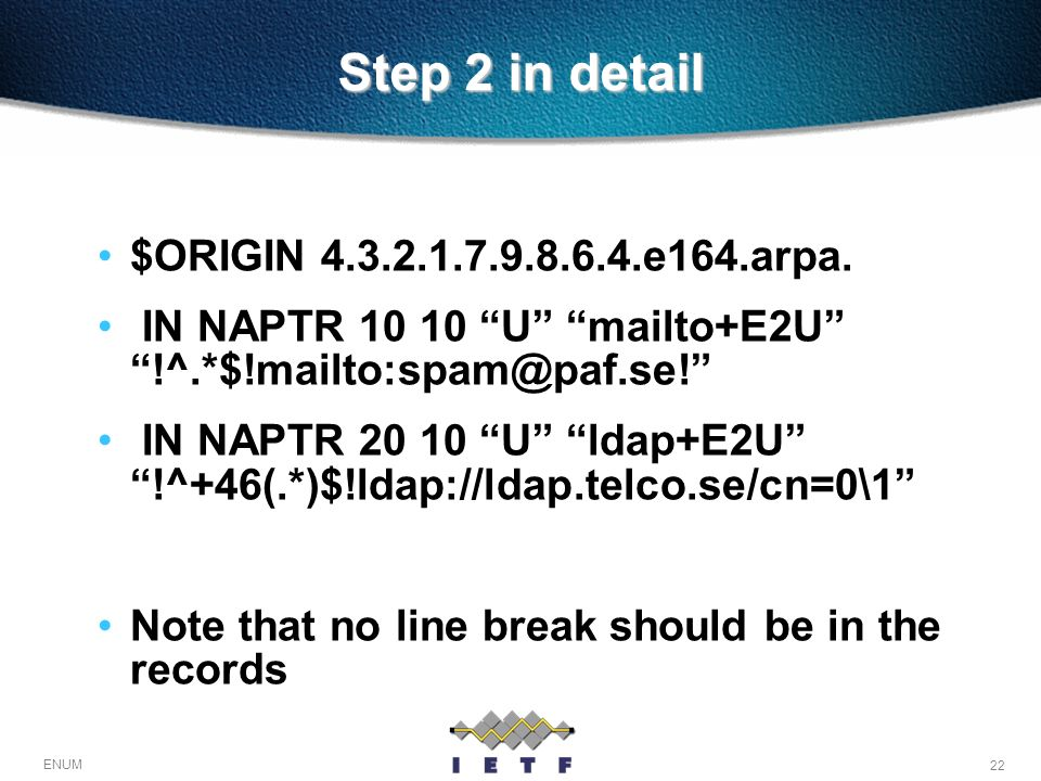 Step 2 in detail $ORIGIN e164.arpa.