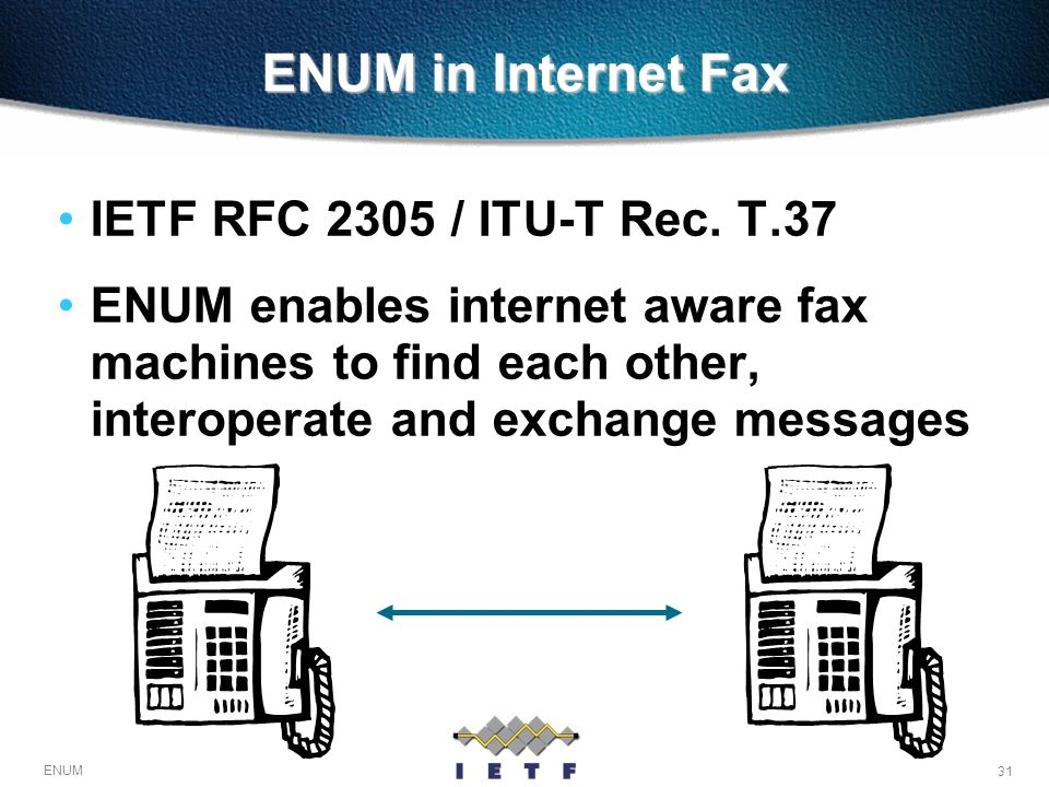 ENUM in Internet Fax IETF RFC 2305 / ITU-T Rec. T.37